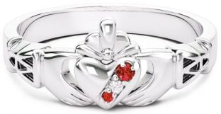 10K/14K/18K White Gold Genuine Ruby .035cts Genuine Diamond .1cts Claddagh Celtic Knot Ring - May Birthstone