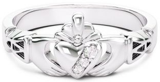10K/14K/18K White Gold Genuine Diamonds .135cts Claddagh Celtic Knot Ring - May Birthstone