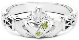 Ladies Diamond Peridot Silver Claddagh Celtic Knot Ring - August Birthstone