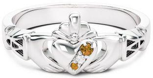 Ladies Diamond Citrine Silver Claddagh Celtic Knot Ring - November Birthstone