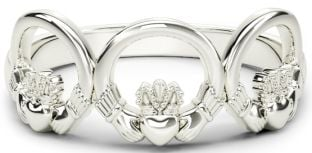 Ladies Silver Claddagh Trinity Ring