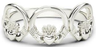 10K/14K/18K White Gold Claddagh Trinity Ring