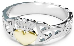 Ladies Silver & Gold Claddagh Celtic Knot Ring