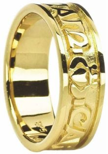 "Mens 14K Yellow Gold ""My Soul Mate"" Celtic Claddagh Ring"