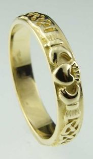 Ladies 10K/14K/18K Yellow Gold Celtic Claddagh Wedding Ring