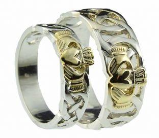10K/14K/18K Two Tone Gold Celtic Claddagh Wedding Ring Set