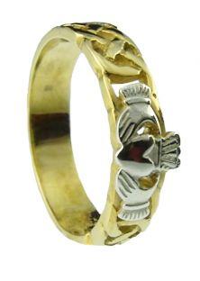 10K/14K/18K Two Tone Gold Celtic Claddagh Wedding Band Ring Set