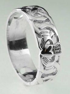 Mens 10K/14K/18K White Gold Celtic Claddagh Wedding Ring