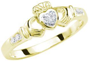 Ladies Diamond Gold Claddagh Ring - April Birthstone