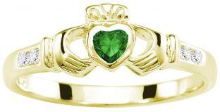 Ladies Emerald Diamond Gold Silver Claddagh Ring - May Birthstone