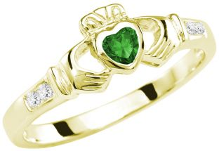 Ladies Emerald Diamond Gold Claddagh Ring - May Birthstone