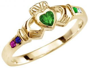 Mother's Birthstone Gold Claddagh Ring