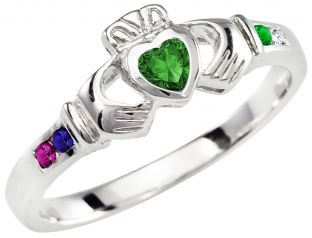 Mother's Birthstone Silver Claddagh Ring