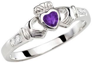 Ladies Amethyst Silver Claddagh Ring - February Birthstone