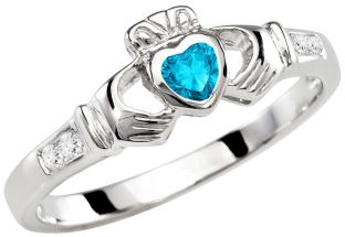 Ladies Aquamarine Silver Claddagh Ring - March Birthstone