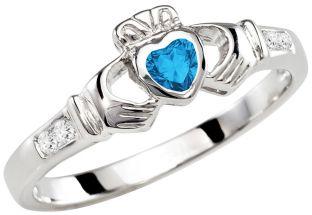 Ladies Topaz Silver Claddagh Ring - December Birthstone