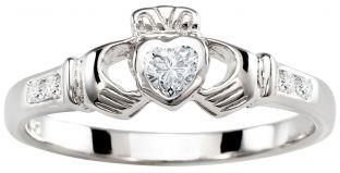 Ladies Diamond Silver Claddagh Ring - April Birthstone