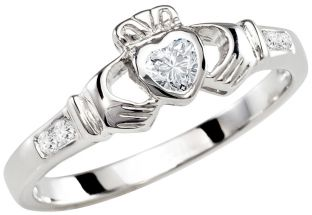 Ladies Diamond Silver Claddagh Ring - April Birthstone