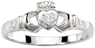 Ladies Diamond White Gold Claddagh Ring - April Birthstone