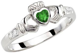 Ladies Emerald Diamond White Gold Claddagh Ring - May Birthstone