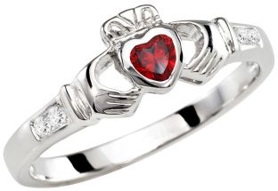Ladies Garnet Silver Claddagh Ring - January Birthstone