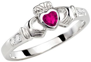 Ladies Pink Tourmaline Silver Claddagh Ring - October Birthstone