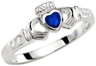 Ladies Sapphire Diamond Silver Claddagh Ring - September Birthstone