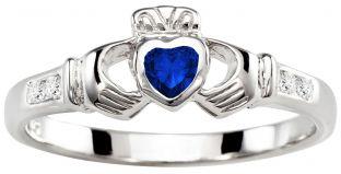 Ladies Sapphire Diamond Silver Claddagh Ring - September Birthstone