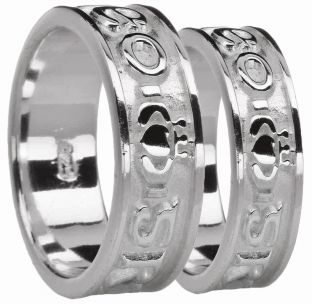 "White Gold Claddagh ""Love Forever"" Wedding Band Ring Set"