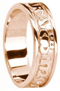 """Ladies 14K Rose Gold Silver """"My Soul Mate"""" Claddagh Celtic Band Ring"""