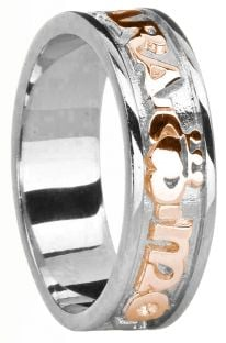 """Ladies 14K White & Rose Gold Silver """"My Soul Mate"""" Claddagh Celtic Band Ring"""