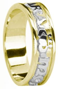 """Ladies 14K Yellow & White Gold Silver """"My Soul Mate"""" Claddagh Celtic Band Ring"""