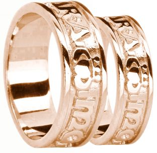 """Rose Gold """"My Soul Mate"""" Claddagh Wedding Band Rings Set"""