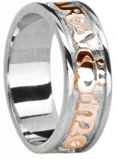 """Mens 14K White & Rose Gold Silver """"My Soul Mate """"Claddagh Celtic Band Ring"""