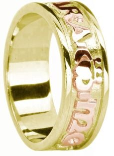 "Mens Yellow and Rose Gold Claddagh ""My Soul Mate"" Band Ring"