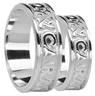 "Silver ""My Soul Mate"" Celtic Band Ring Set"
