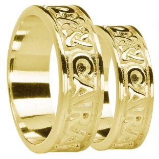 "Gold ""My Soul Mate"" Celtic Wedding Band Rings Set"