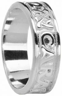 """Ladies White Gold """"My Soul Mate""""  Celtic Band Ring"""