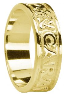 """Mens Gold """"My Soul Mate"""" Celtic Band Ring"""
