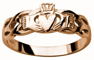 Ladies Rose Gold Claddagh Celtic Wedding Ring