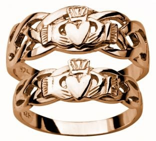Gold Rose Claddagh Celtic Wedding Ring Set