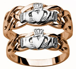 Gold Rose and White Claddagh Celtic Wedding Ring Set