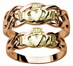 Gold Rose and Yellow Claddagh Celtic Wedding Ring Set