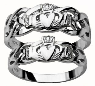 Silver Claddagh Celtic Ring Set