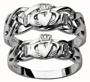 White Gold Claddagh Celtic Wedding Ring Set