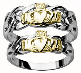 14K White Gold Silver Claddagh Celtic Ring Set