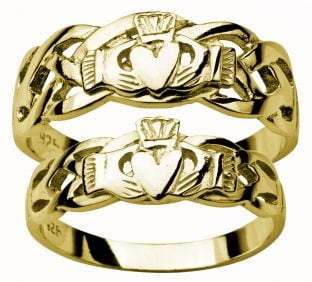 14K Gold coated Silver Claddagh Celtic Ring Set
