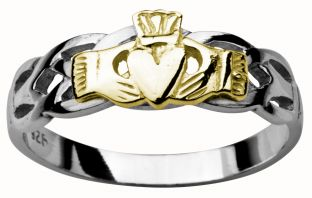Ladies White & Yellow Gold Claddagh Celtic Wedding Ring