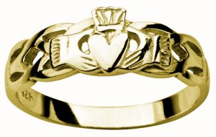 Ladies 14K Gold coated Silver Celtic Claddagh Ring