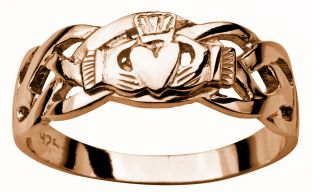 Mens Rose Gold Claddagh Celtic Wedding Ring